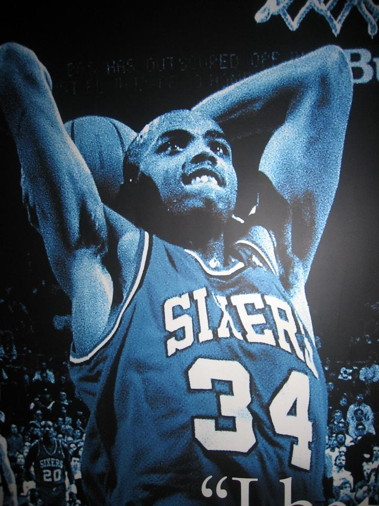 Charles Barkley image in the Sixers locker room