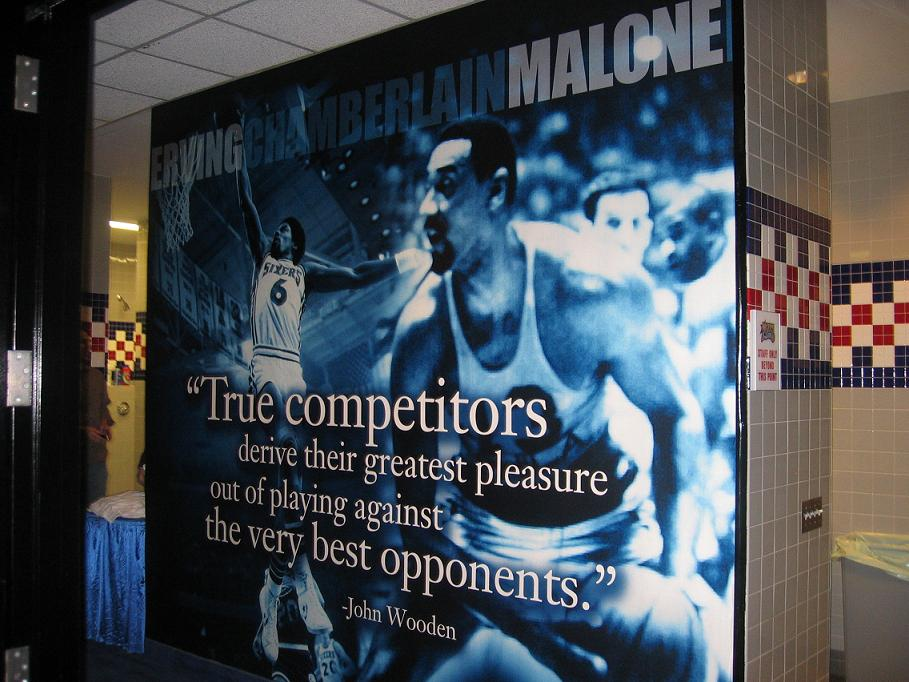 Wilt Chamberlainimage and John Wooden Quote in Sixers Locker room
